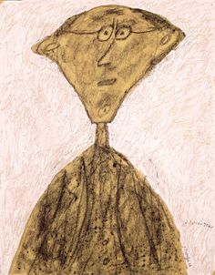 «Jouhandeau aux lunettes»  Jean Dubuffet (1901-1985)   France, août 1946   Gouache et crayon de papier