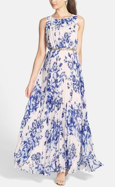 Love this pretty blue floral maxi dress.