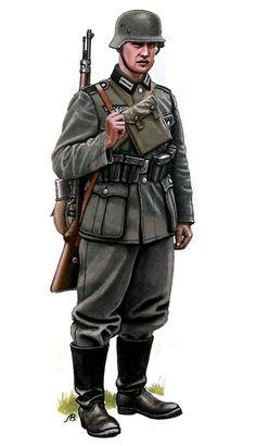 WEHRMACHT - Soldato con Kar 98, battaglia di Kiev, 1941 - O. Fedorov