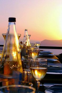 Sunset Dinner in Santorini.