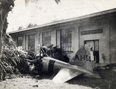 Wreckage of the first Japanese plane shot down during the attack.