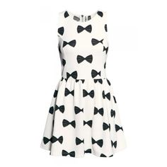 Black Bow Tie Print Sleeveless A-line White Mini Dress (30 AUD) ❤ liked on Polyvore featuring dresses, white dress, white day dress, white mini dress, short dresses and white a line dress