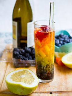 Rainbow Sangria (1 glass)    1 cup white wine  2-3 Tbsp fresh orange juice  2 Tbsp apple juice or another sweet juice (pear works nicely)  1-2 Tbsp ginger ale (or other fizzy soda - apple or orange soda works well too)  rainbow colored fruits (I used: strawberry, tangerine, pineapple, green grapes, blackberries and blueberries)  optional: 1 Tbsp brandy    To Make: Add the fruit in rainbow order to a tall glass. Then pour in the wine and fruit juice. Top it off with the ginger ale. Add the…