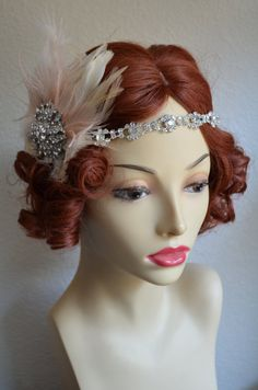 Top Seller,Rhinestone Flapper headpiece,1920s headpiece,1930s flapper,Flapper,Feather flapper,elastic,large brooch headpiece,Style C041