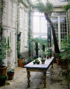 The conservatory in Jasper Conran's country estate, Ven House in Milborne Port, Somerset - as featured in The World of Interiors. I may need a country estate. Outdoor Rooms, Outdoor Gardens, Outdoor Living, Indoor Outdoor, Kew Gardens, Outdoor Fabric, World Of Interiors, Patio Interior, Interior And Exterior