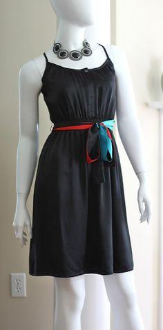 Modern Amusement Dress NWT Size Small  Black 100% Silk Multicolored Tie Waist