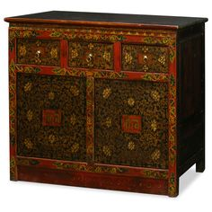 Hand Painted Tibetan Cabinet. Decorated with exuberant colors, the exotic Tibetan furniture art is manifested in this beautiful cabinet. The cheerful color represents the personality of Tibetan people who are passionate with life. Tibetan furniture.