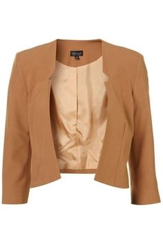 Rust Cutout Collarless Crop Blazer - Jackets & Coats - Clothing - Topshop USA - StyleSays