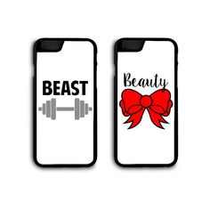 """""""BEAUTY"""" and """"BEAST"""" phone cases for couples or very close friends! Makes an excellent gift or fashion statement--sure to make others envious of you and your special someone.  Beauty and Beast Couples Phone Cases by SnarkySharkStudios."""