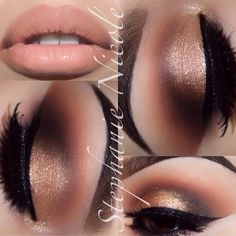 We LOVE this by ✨@Stephanie Close Salinas ✨ ..golds smokey eyes and neutral lips. PRODUCTS