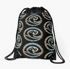 'Wave free your mind and go with the flow.' Drawstring Bag by NocturnDesign Deep Sea, Woven Fabric, Jewelry Shop, Drawstring Backpack, Sculpting, Flow, How Are You Feeling, Mindfulness