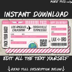 DIY Printable Editable Boarding Pass Surprise Fake Airline | Etsy Lottery Tickets, Airline Tickets, Boarding Pass Template, Destinations, Happy 30th Birthday, Travel Gifts, Text You, Party Invitations, Pink