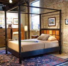 Headboard DIY. Wooden Bed set. Combining old and new. Dark colours. Bricks.