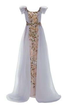 Shop Off-The-Shoulder Organza Tulle Gown. Marchesa's organza and tulle gown is designed with off-the-shoulder sleeves, floral embellishments and a dramatic draped overlay. Evening Dresses, Prom Dresses, Formal Dresses, Wedding Dresses, Marchesa Fashion, Tulle Gown, Fantasy Dress, Beautiful Gowns, Dream Dress