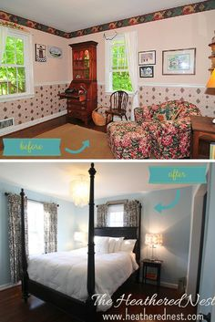 Master Bedroom before and after DIY renovation...a little paint goes a long way!