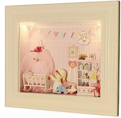 Dollhouse Miniature DIY Frame Kit w/ Light Dream of Baby Room Bedroom Sweet Love