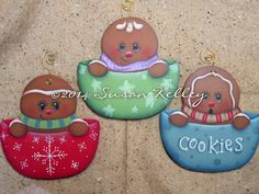 Gingerbread Ornaments (Set of 3) - Hand Painted