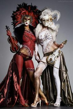 Wow, that's some impressive costuming and body art, and I love that the violins match.