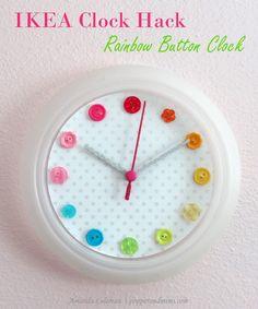 IKEA Clock Hack: Rainbow Button Clock