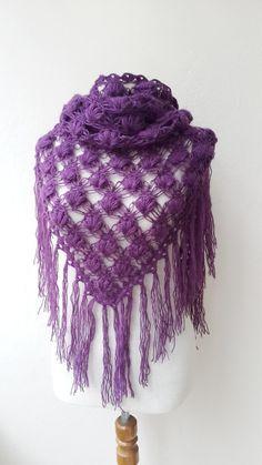 Hand made plum mohair shawl