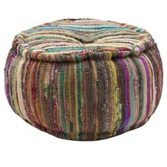 Cotton Chindi Round Pouf Ottoman