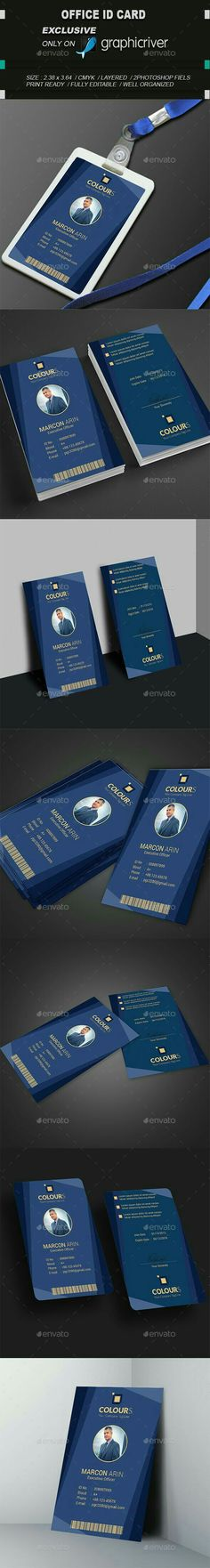 Modern ID by CreativeKorner Specifications: - Size: (with bledd) - Resolution: 300 dpi - Color mode: CMYK - Working file: Photoshop CC Identity Card Design, Id Card Design, Badge Design, Diy Design, Branding Design, Id Card Template, Card Templates, Invitation Templates, Modern Business Cards