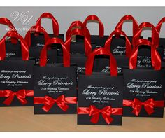 20 Birthday Bags with satin ribbon handles, bow and name, Personalized Black & Red Favors, Elegant T
