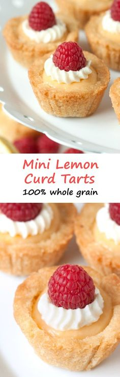 These mini lemon curd tarts have a soft and chewy cookie-like crust and are 100% whole grain!