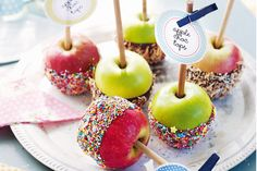 Get your hands on a fairground-style choc-apple pop and munch away.