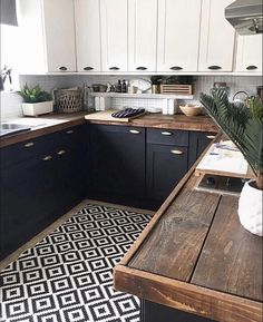 Remodeling Kitchen Countertops DIY Kitchen Renovation - Butcher Block Wood Countertops, Two Color Cabinets, Black Lower Cabinets and White Upper Cabinets. New Kitchen Cabinets, Kitchen Redo, Home Decor Kitchen, Home Kitchens, Kitchen Dining, Kitchen Cabinets Black And White, Kitchen White, Black And White Backsplash, Rental Kitchen Makeover