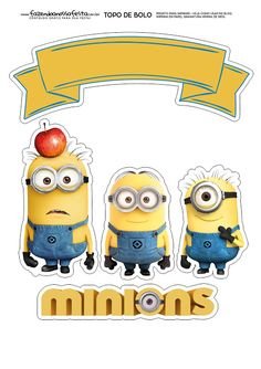 Minions: Free Printable Cake Toppers.