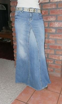I just converted a pair of jeans into a skirt. This looks very similar. :)