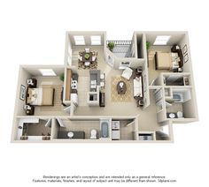 Our two bedroom, two bathroom B1 floor plan. This open layout features a master suite and an attached garage in select units!