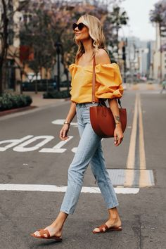 Fashion Jackson Wearing Cuyana Yellow Off the Shoulder Blouse Denim Ankle Jeans Hermes Oran Gold Sandals Cuyana Tan Handbag Source by valya_vl outfits 2019 Summer Fashion Outfits, Chic Outfits, Spring Summer Fashion, Trendy Outfits, Vacation Fashion, Fashion Dresses, Vacation Style, Women's Dresses, Casual Dresses