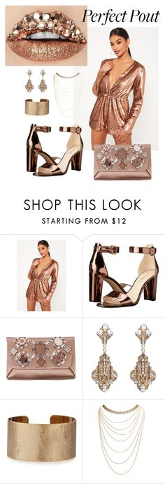 """Bronze Sparkly Perfect Pout"" by selina-xu ❤ liked on Polyvore featuring Missguided, Nine West, Lanvin, Thot, Panacea and Wet Seal"