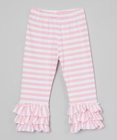 Love this Pink & White Stripe Ruffle Capri Pants - Infant, Toddler & Girls on #zulily! #zulilyfinds