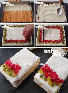Kar Yağdı Pastası Tarifi Süslemesi çok hoş =) Kitchen Recipes, Cooking Recipes, Sweet Recipes, Cake Recipes, Delicious Desserts, Yummy Food, Food Platters, Sweet Tarts, Turkish Recipes