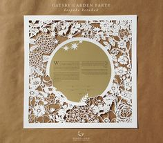 """""""Gatsby Garden Party"""" hand-cut paper 'ketubah' - by Naomi / Woodland Papercuts; Paper Lace, Paper Flowers, Cut Paper, Quilled Roses, Chinese Paper Cutting, Paper Cutting Patterns, Laser Art, Paper Artwork, Quilling Patterns"""