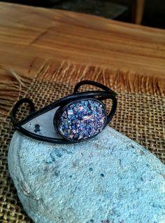 Black Copper Bracelet with Bismuth Crystal.  16mm X 24mm. by NAKOBI on Etsy