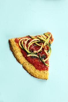 Zucchini Spaghetti Cauliflower Crust Pizza
