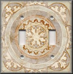 Metal Light Switch Plate Cover Tuscan Distressed Medallion Teal Home Decor