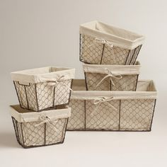 """Chicken Wire Storage Baskets Available:  COST PLUS WORLD MARKETS: dimensions:  Small: 9""""W x 7""""D x 6""""H; Medium: 11""""W x 9""""D x 7""""H; Large: 20""""W x 13""""D x 8""""H"""