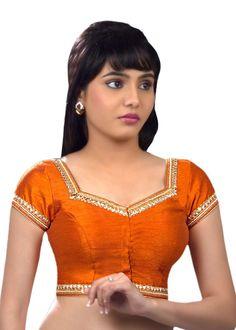 Ravishing Moti Laced Orange Ready-made Sari Blouse SNT-X-234-SL