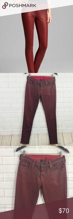 "True Religion Halle Red Coated Jeans True Religion Halle Coated Skinny Leg Jeans   Red Size 28   Waist- 28"" Hips- 35"" Rise- 8.5"" Inseam- 29"" Leg Opening- 5""  Posh 5 True Religion Jeans Skinny"