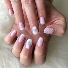 Light Pink and White Nail Art Design for Prom