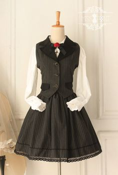 --SALE: Miss Point Collge School Style Vest + Skirt SET --NOW ONLY 49.99USD (Vest + Skirt) | Custom Size Available  --Learn More >>> http://www.my-lolita-dress.com/college-school-style-black-vintage-lolita-vest-and-skirt-yuan-69
