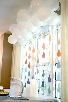 Baby Shower - white balloon cloud and rainbow rain drops