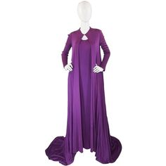Preowned 1971 Couture Halston Jersey Gown & Coat (239.050 RUB) ❤ liked on Polyvore featuring outerwear, coats, dresses, purple, jersey coat, leather-sleeve coats, halston, purple cape and checkered coat