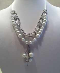Wedding Bride Necklace.  Adjustable Ribbon with Silver Chain, White Glass Pearls, Clear Crystals, White Pearl and Clear Crystal Pendant. $30.00, via Etsy.