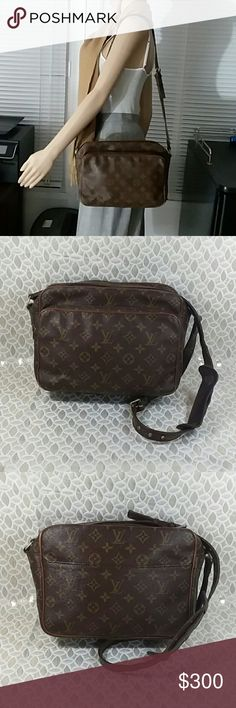 Authentic Louis Vuitton Monogram Nille Bag. Canvas and strap are good. Louis Vuitton Stamp and a date code could no be read as leather showed wearing. Louis Vuitton signature are on the hardware. The bag can be used as shoulder only with uts dimension 8, 10 and 5. Louis Vuitton Bags Shoulder Bags